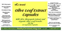 Olive Leaf extract capsule label 20%